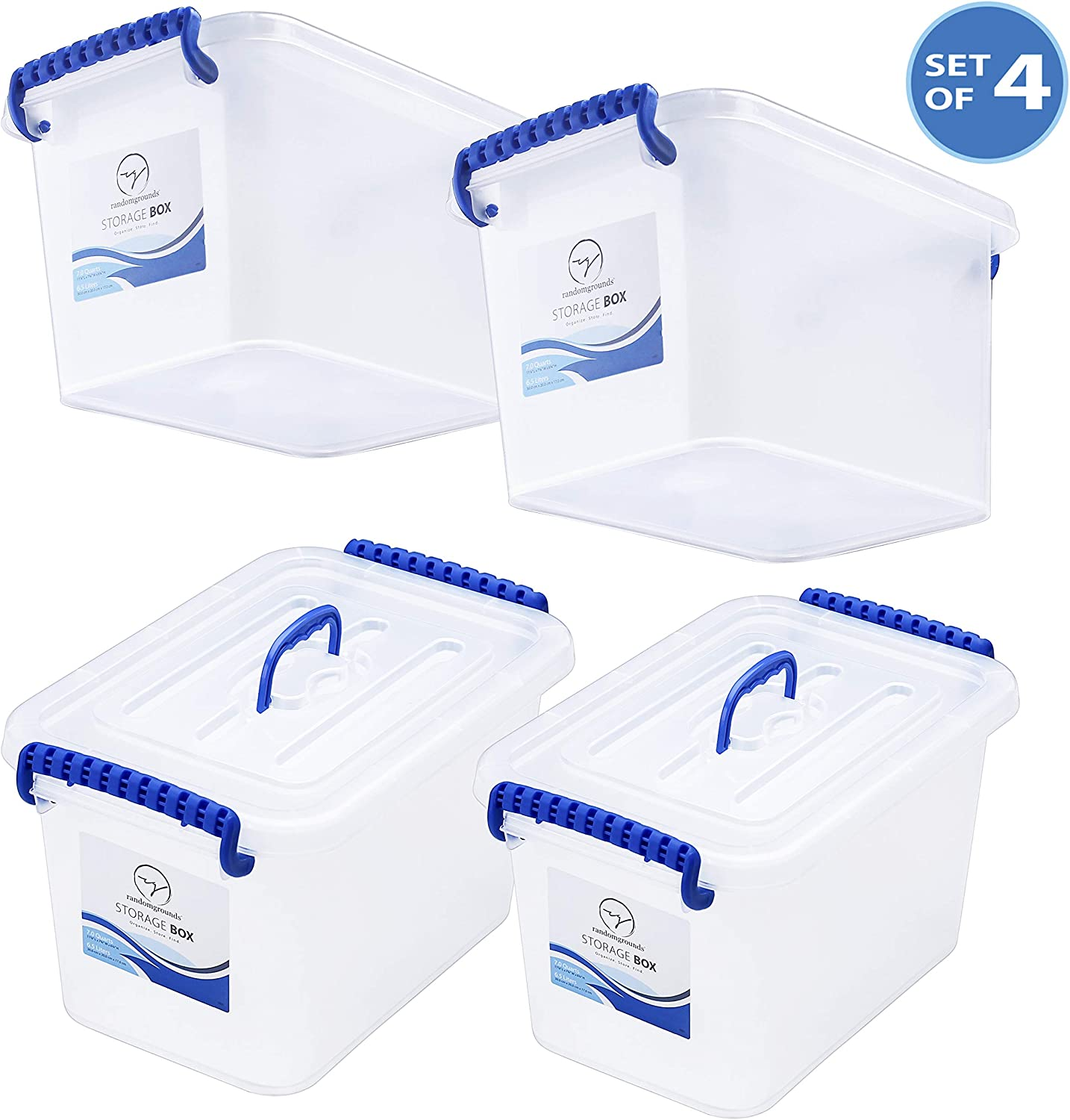 Storage Bins with Lids and Handle - Great for Toys Legos Art Crafts Tools Pantry Kitchen Closet Bathroom Organization - Plastic Stackable Small Tote Box Containers - Semi Clear White, 7 Quart Set of 4