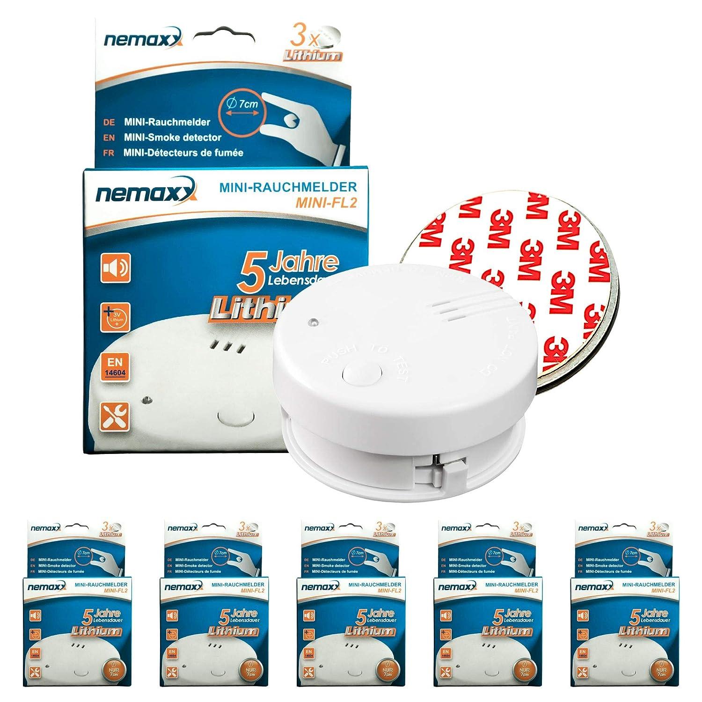 Detector de Humos Nemaxx FL2 Conforme a la Norma EN 14604, 10 Unidades, tecnología fotoeléctrica Sensible, 6829: Amazon.es: Bricolaje y herramientas