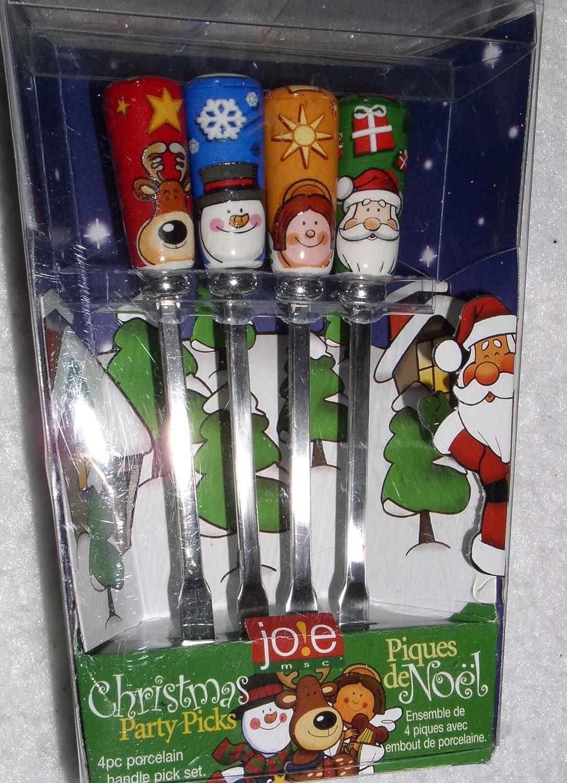 Jole Christmas Party Picks Set of 4 Porcelain Handle Set