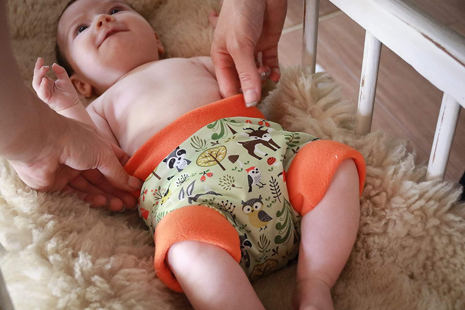 Waterproof Made in Europe Mushrooms, Size XS 5 Sizes Reusable /& Washable Easy /& Quick Changing Petit Lulu Pull Up Diaper Wrap