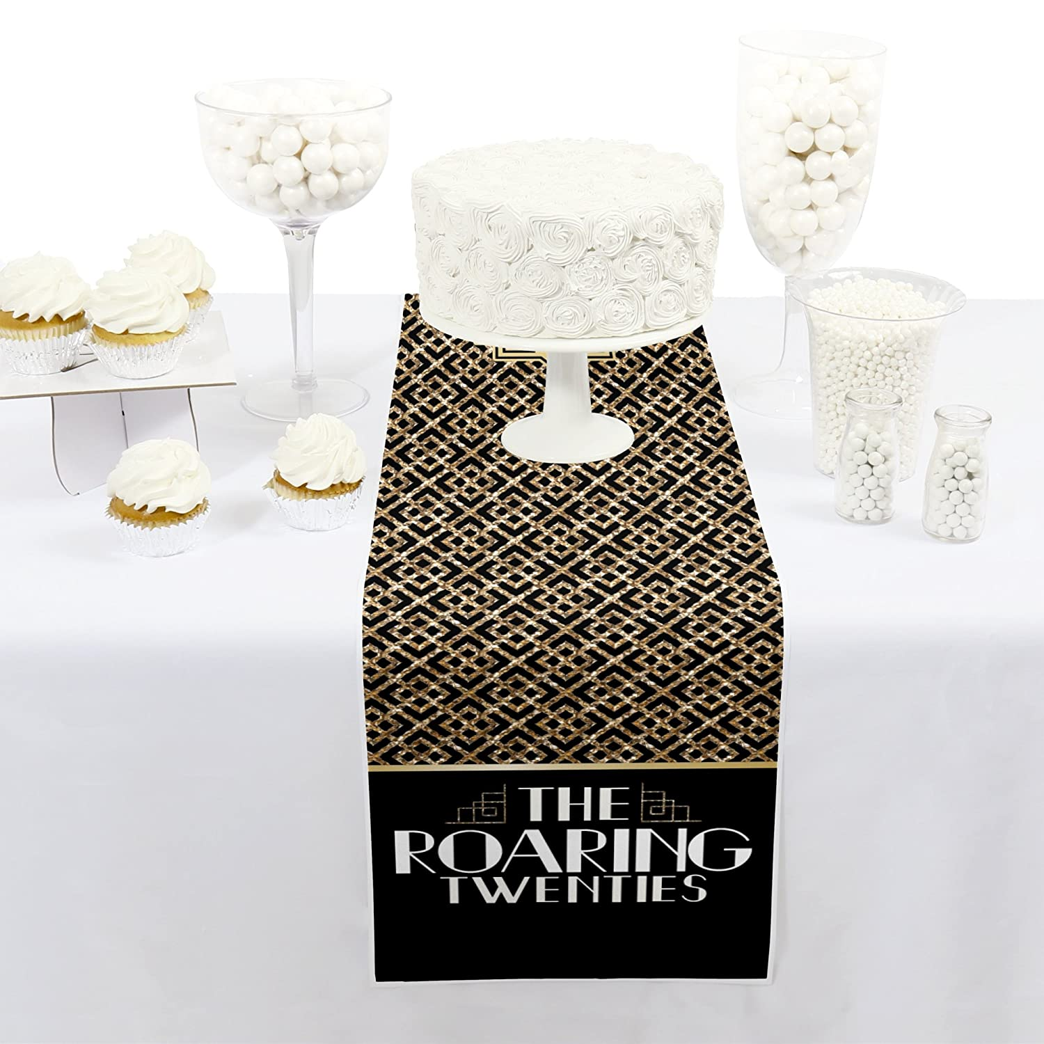Petite 1920s Art Deco Jazz Party Paper Table Runner 12 x 60 inches Big Dot of Happiness Roaring 20s 2020 New Year/'s Eve Party