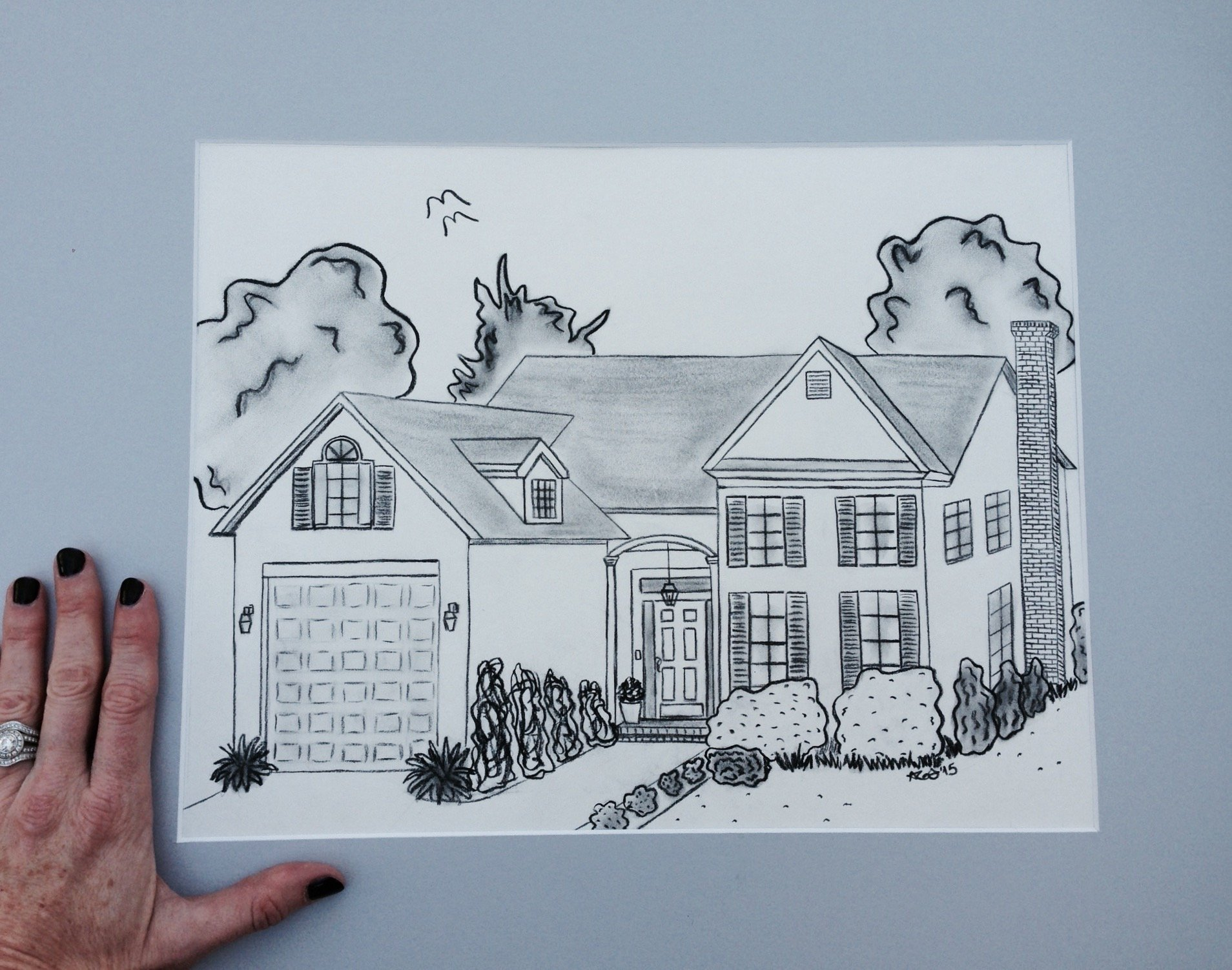 11x14 Custom Drawing with 16x20 Gray Mat