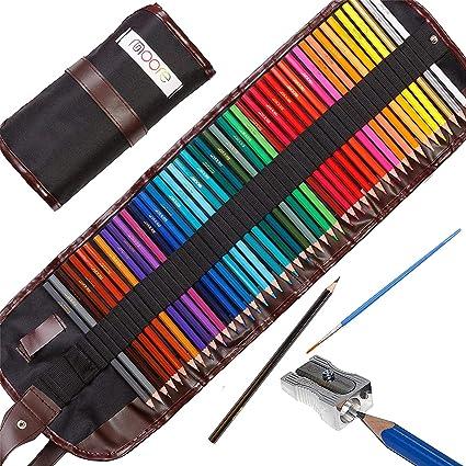 Moore: Lápices de Colores artísticos Set de 48 Piezas Colores Vibrantes pre-Afilados para Adultos y niños, con sacapuntas de aleación metálico de Kum Gratis Estuche de Lona Enrollable.: Amazon.es: Juguetes y juegos