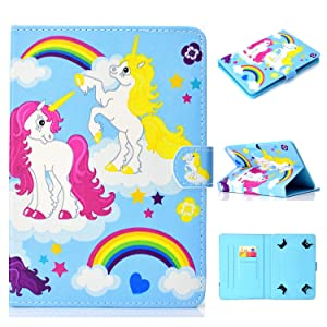 "UGOcase Univesal 9.5-10.5"" Tablet Case, PU Leather Slim Folio Stand Protective Cards Slots Wallet Cover for Fire HD 10, Galaxy Tab, RCA, Acer, Dell, Lenovo, Google, ASUS, HP, Dell, Rainbow Unicorn"