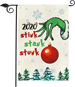 "Unves Grinch Christmas Garden Flag 12.5"" x 18"", Double Sided Christmas Flag Burlap 2020 Stink Stank Stunk Grinch Garden Flag Christmas Decorations for Winter Holiday Party Farm House Yard Outdoor"