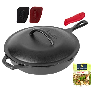 Lodge 10.25 Inch Cast Iron Skillet with Cover, Pre Seasoned Cookware for Stovetop, Oven Cooking, Grill and Induction Safe, Hot Handle Holder, 2 Pan Scrapers, Bundle Includes Salient Home Cookbook
