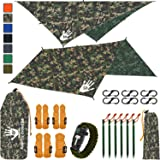 Rain Fly EVOLUTION 12x10/10x10 Hammock Waterproof Tent TARP & Survival Bracelet - 22 pcs - Lightweight - Backpacking…