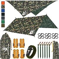 Rain Fly EVOLUTION 12x10/10x10 Hammock Waterproof Tent TARP & Survival Bracelet - 22 pcs - Lightweight - Backpacking…