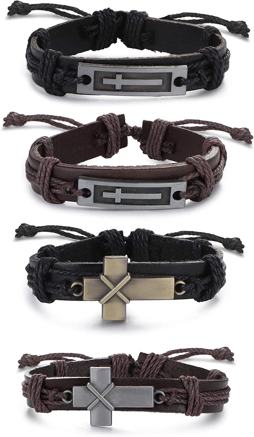 SAILIMUE 4 Pcs Cross Leather Bracelet for Men Religious Cross Tag Bangle Leather Wristband Adjustable Drawstring Bracelet Set