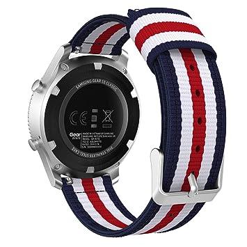 MoKo Correa para Gear S3 Watch, 22mm Nylon Banda Adjustable para Samsung Gear S3 Frontier/S3 Classic/Galaxy Watch 46mm/Huawei Watch GT 46mm/Ticwatch ...