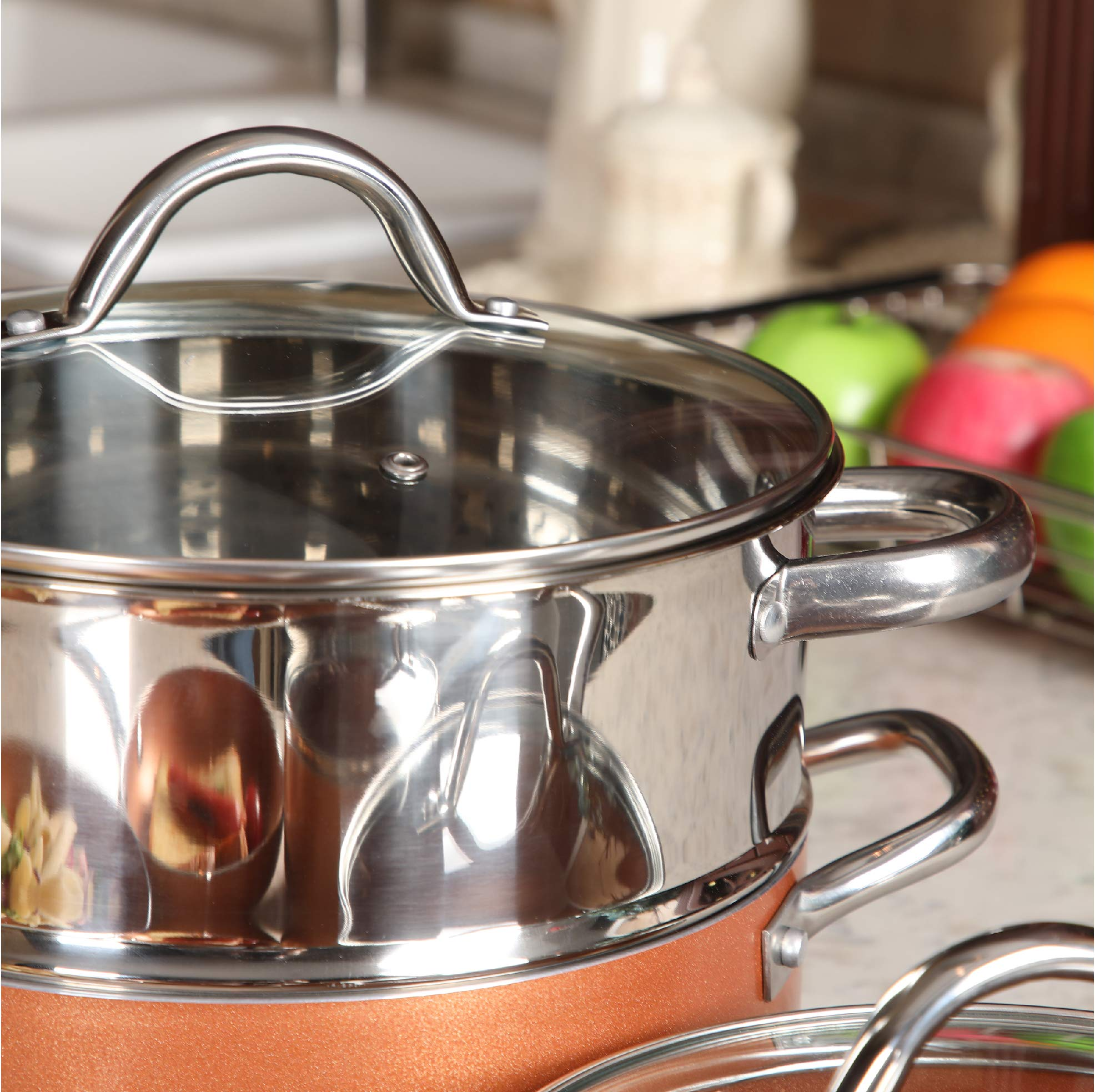 Kitchen Academy 10 Piece Nonstick Induction Cookware Set Includes Lids, Frying and Roasting Pans Accessories by Kitchen Academy (Image #7)