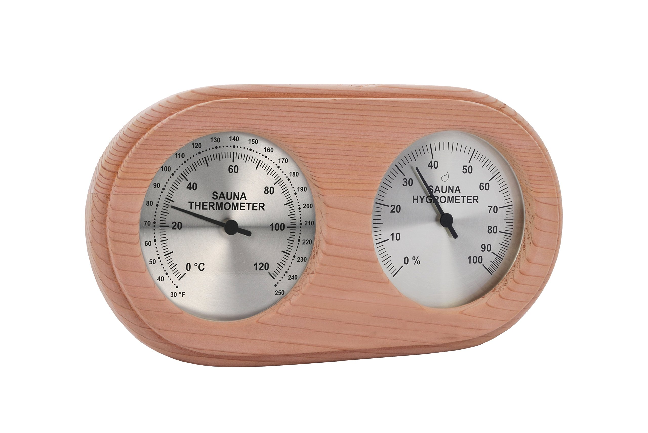Oval Cedar Encased Sauna Thermometer/Hygrometer C-F (10'' x 5 1/2'')
