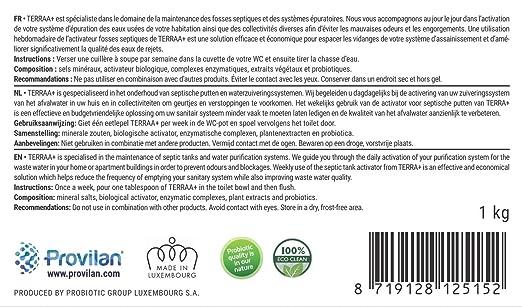terraa + Entrevista fosses sépticas 1 kg | para un tratamiento de hasta 18 meses. | Bio, Vegan & Natural