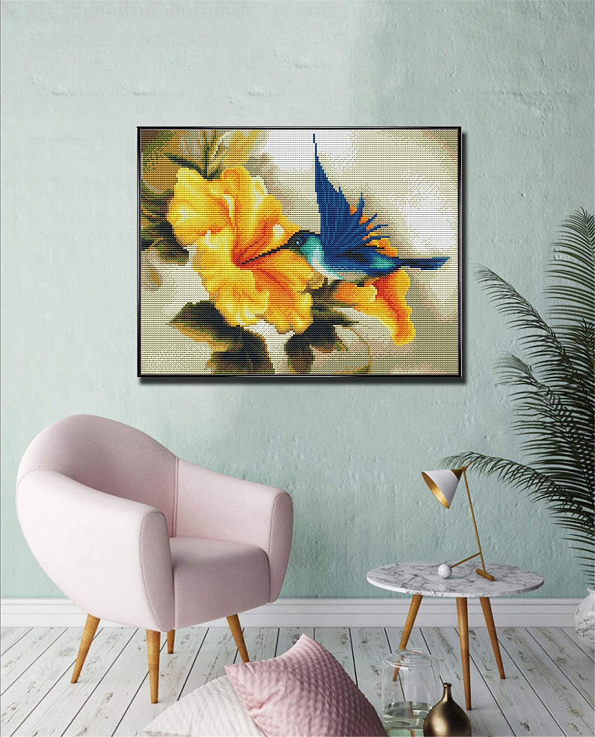 Cross Stitch Kits Counted Cross Stitch Kit Cross-Stitching Patterns Hummingbird Flowers with 11CT White Fabric DIY Art Crafts /& Sewing Needlepoints Kit for Home Decor 14.2/×18.1Inch