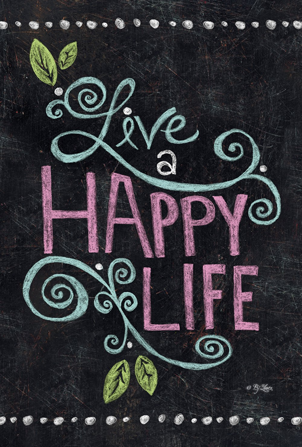 Toland Home Garden Happy Life Chalkboard 28 x 40 Inch Decorative Inspirational Double Sided House Flag