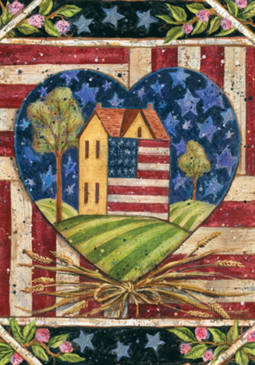 Toland Home Garden American Folk Heart 28 x 40 Inch Decorative Rustic Patriotic Americana July 4 House Flag