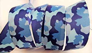 Grosgrain Ribbon - Blue Camouflage - 1
