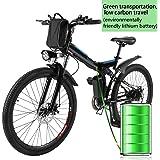 AIMADO Bicicletas Electricas de Montaña Plegable, E-bike MTB 250W 25 km/h Shimano 21 Velocidad, Aluminio, Batería de Litio 36V 8A, Ruedas Grandes de 26 Pulgadas con Luz Delantera LED 2 Modos, Enchufe de la EU