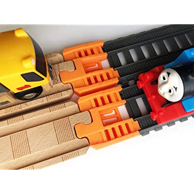 TrainLab Thomas Wood 2020 to Trackmaster (2014+) Train Track Adapters (Orange): Toys & Games
