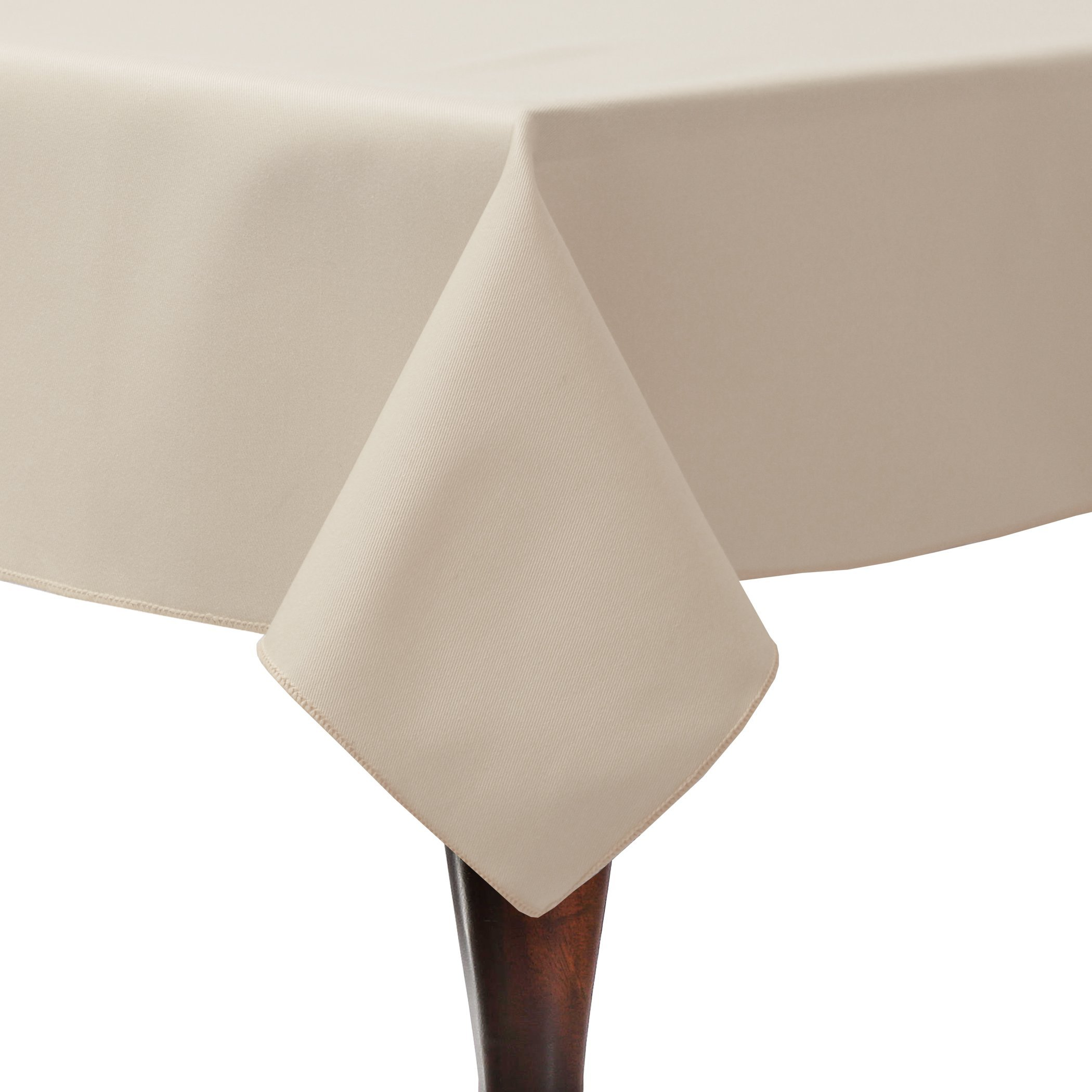 Ultimate Textile (3 Pack) Poly-cotton Twill 60 x 90-Inch Rectangular Tablecloth - for Restaurant and Catering, Hotel or Home Dining use, Beige