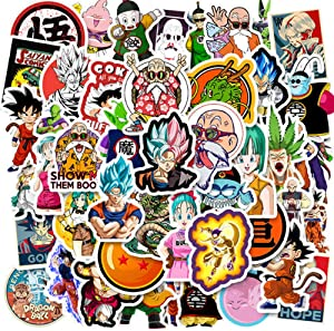 Dragon Ball Z Sticker Pack 50pcs Dragon Ball Laptop Sticker Waterproof Sticker Vegeta Sticker Super Z Sticker for Laptop Luggage Helmet Guitar Skateboard (50pcs-A)