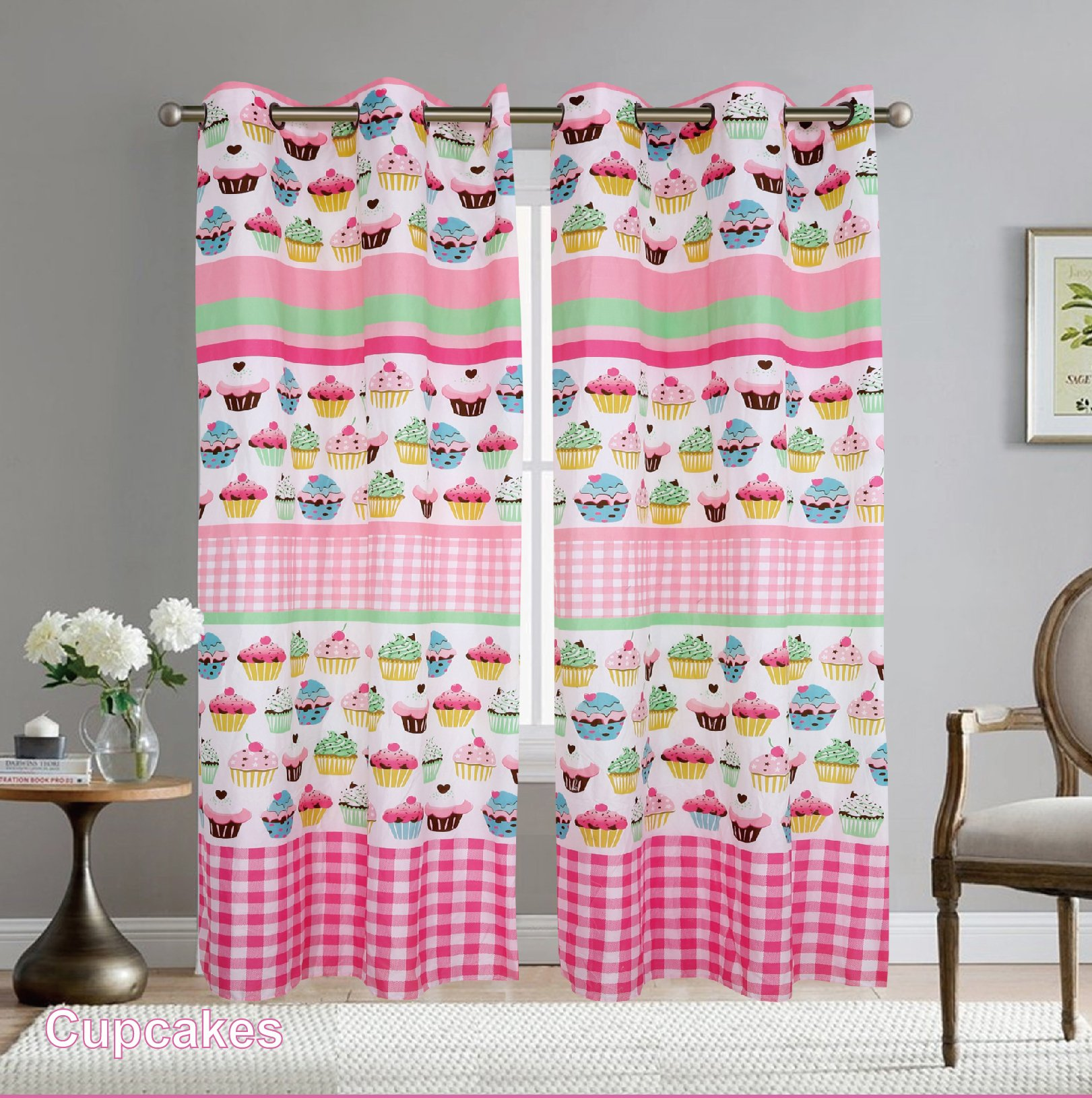 Elegant Home Cupcakes Striped Multicolors Pink White Green Blue Girls/Kids Room Window Curtain Treatment Drapes 2 Piece Set with Grommets # Cupcake