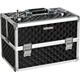 "SONGMICS Makeup Train Case 13.5"" Professional Cosmetic Box with Adjustable Dividers, 4 Trays and 2 Locks Black UMUC12C"