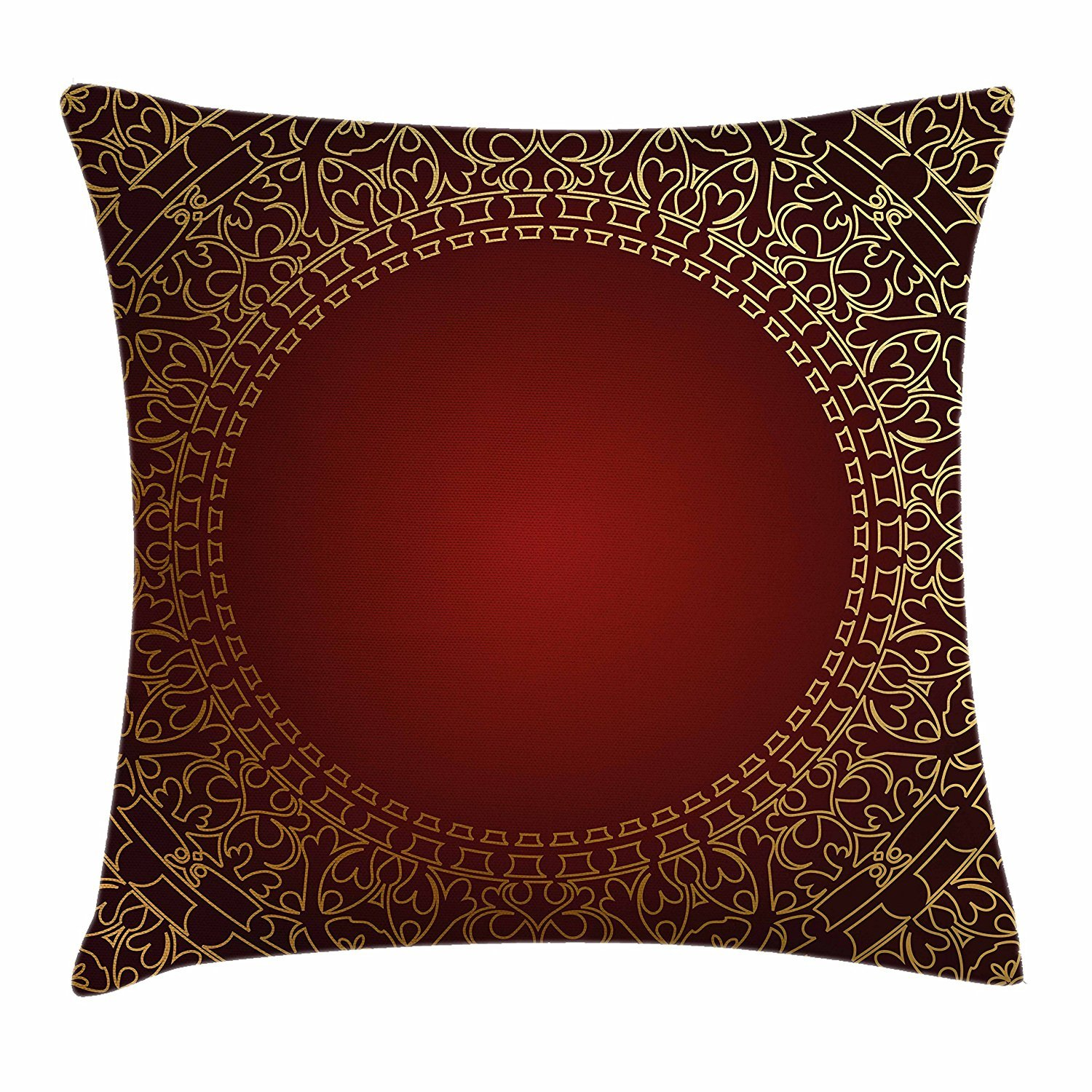 Amazon Com Fengyijiating Maroon Throw Pillow Cushion Cover Vintage Frame With Eastern Motifs Traditional Retro Classic Art Decorative Square Accent Pillow Case 18 X 18 Inch Industrial Scientific