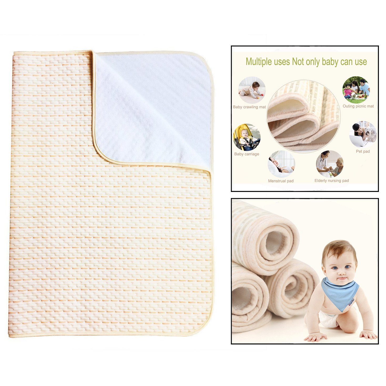 OFKPO Washable Waterproof Sheet Bed Pad, Mattress Protector for Baby Kids Adults