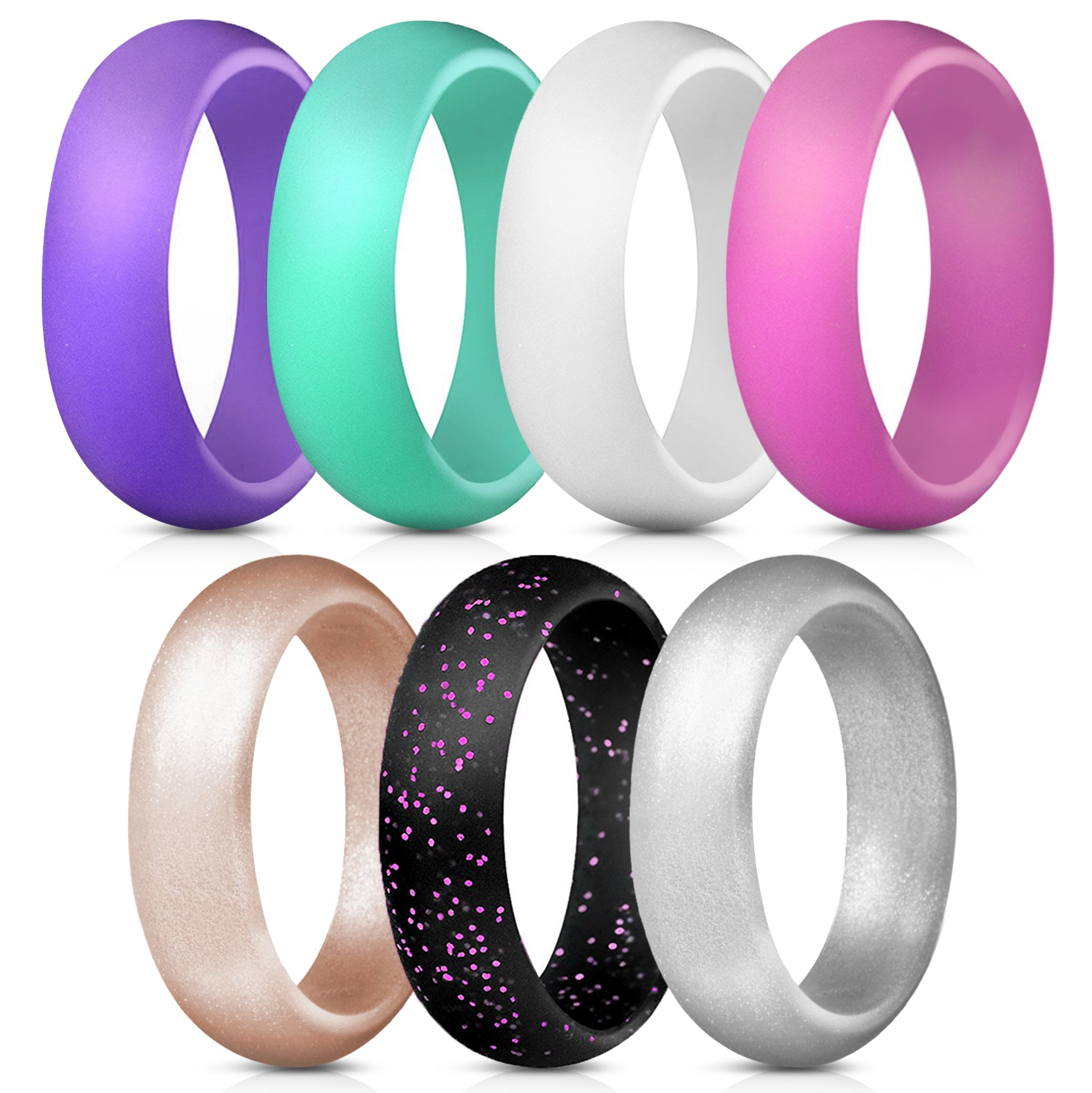 ThunderFit Silicone Rings, 7 Pack Wedding Bands for Women - 5.5 mm wide