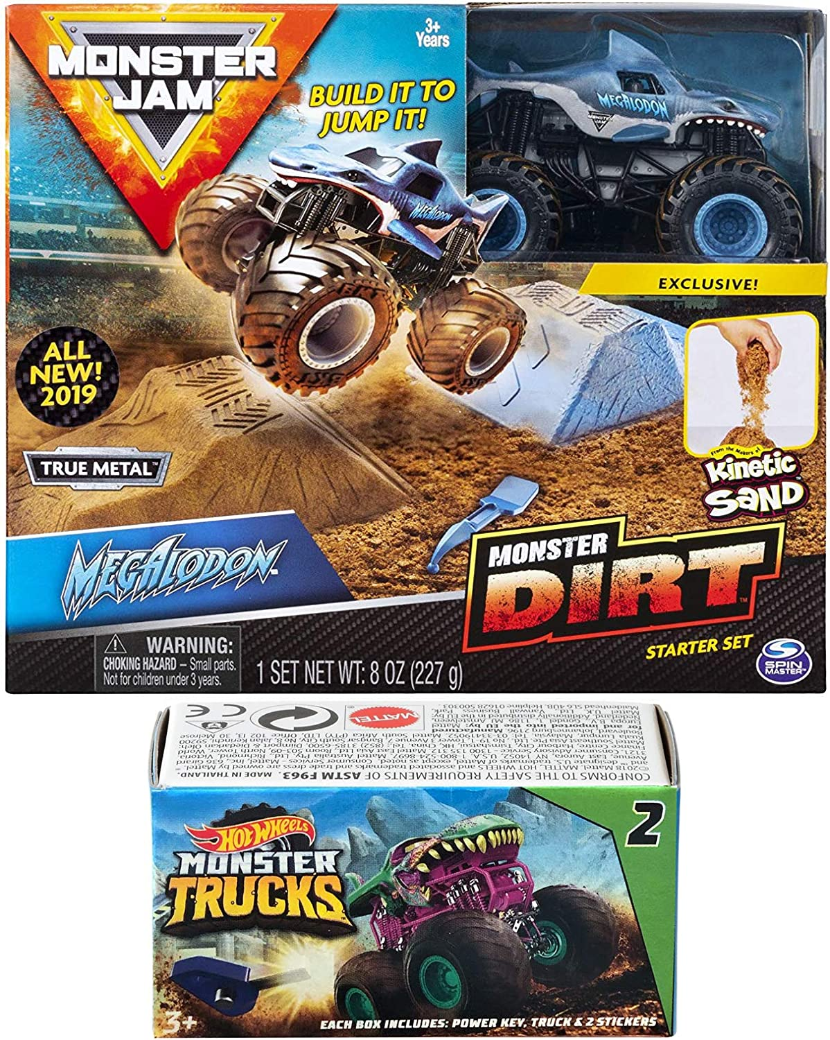 Amazon Com Dirt Crew Monster Jam Kit Action 2019 Megalodon Shark Truck And Sand Hot Wheels Blind Box Series Mini Monster Truck With Launcher Toys Games