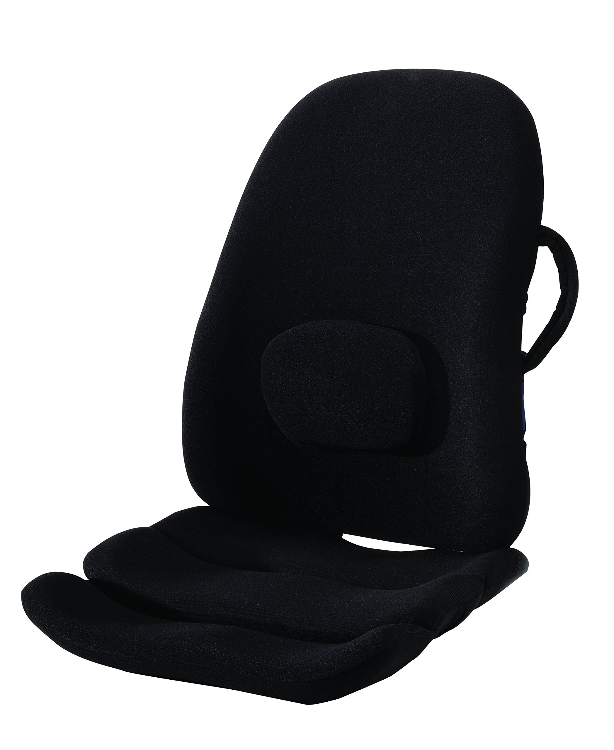 ObusForme Lowback Backrest Support System - Adjustable Lumbar Support, Contoured Cushioning Support, Handles, Hypoallergenic Cover. Portable Lumbar Support Cushion