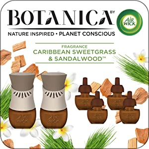Botanica by Air Wick Plug in Scented Oil Starter Kit, 2 Warmers + 6 Refills, Caribbean Sweetgrass and Sandalwood, Air Freshener, Eco Friendly, Essential Oils