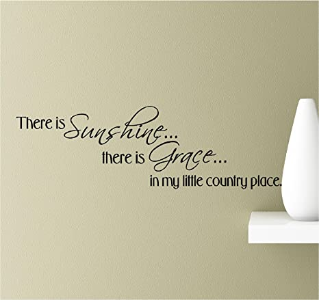 There is sunshine... there is grace... in my little country place Vinyl  Wall Art Inspirational Quotes Decal Sticker