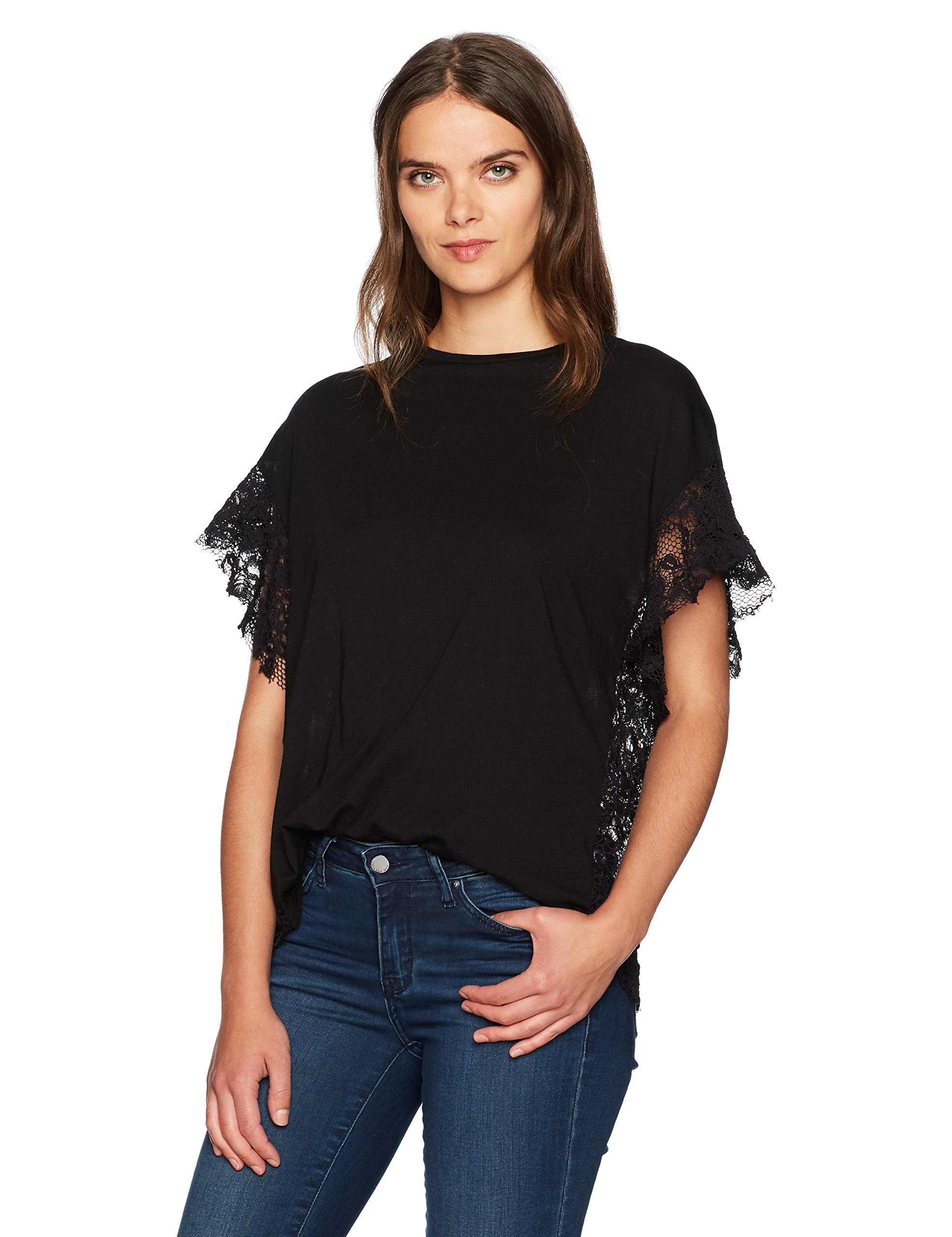 AG Adriano Goldschmied Women's Sofi Lace Tee, True Black, M