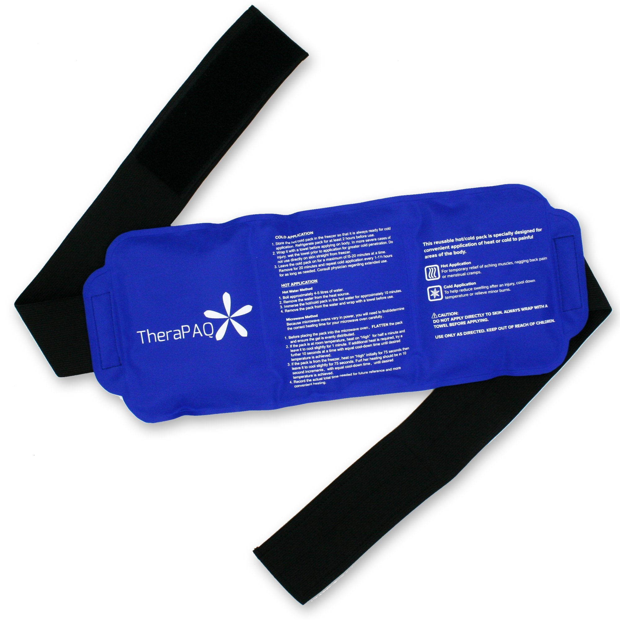 Reusable Ice Pack with Strap by TheraPAQ - Soft & Flexible Gel Pack for Hot & Cold Compress - Best as Heat Pad or Cold Wrap for Back, Knee, Waist, Shoulder, Ankle, Calves and Hip (Large pack:14'' X 6'')