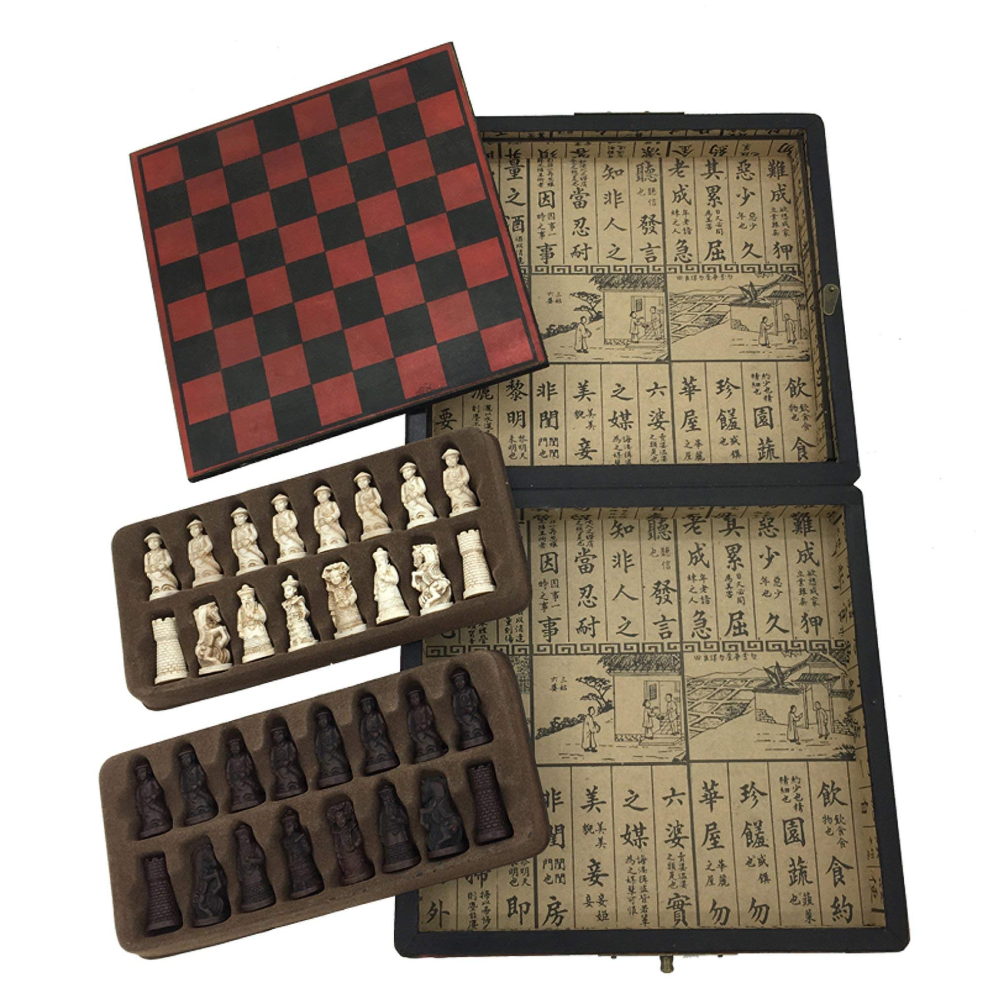 Classic Unique Antique Chess Set Wooden Storage Box Vintage Retro Chess Gifts for Men Outdoor Travel Table Games