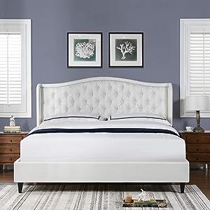 Jennifer Taylor Home Waverley Tufted Wingback Platform Bed, King, Antique White