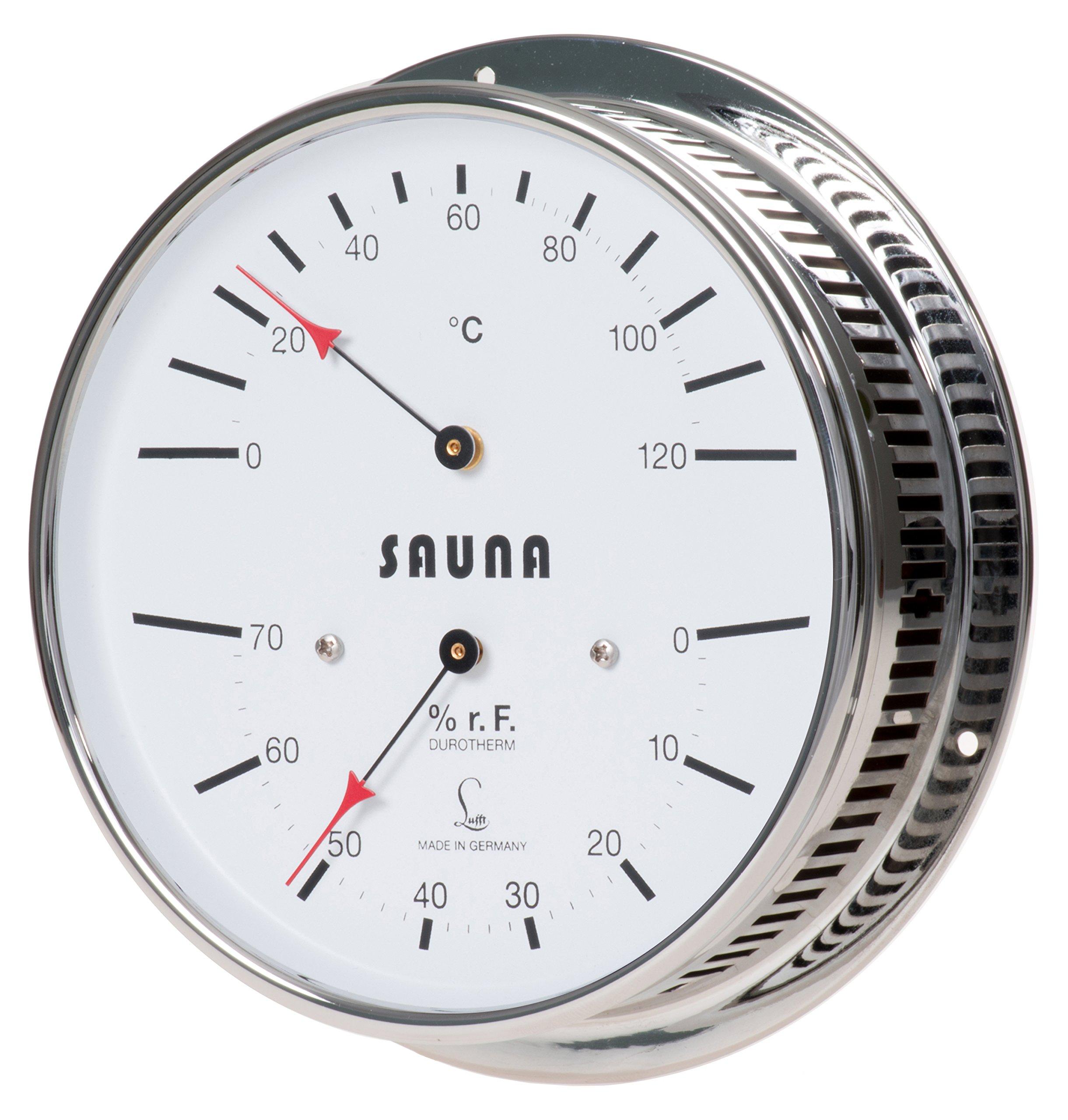 LUFFT Sauna Thermometer + Hygrometer 6.3'', Chromed Brass, 5030.00 (°C version)