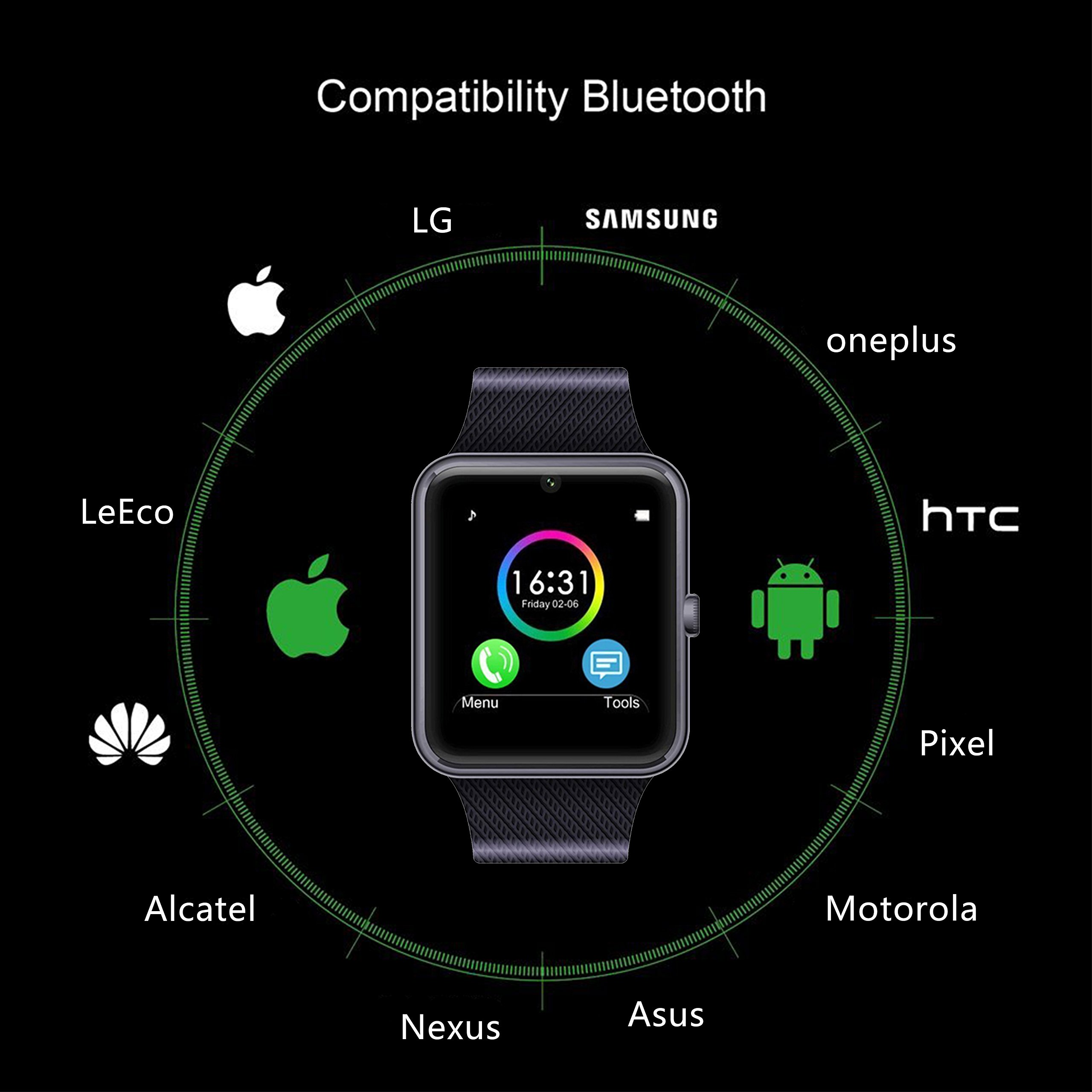 01d66a6b7fa MSRMUS Smart Watch Compatible for Iphone 5s 6 6s 7 7s and Android 4.3 above  ...