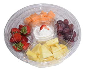 JA Kitchens 5 Compartment, Disposable Clear Fruit / Vegetable Tray with Lid (5 Sets)