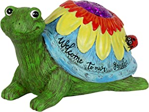 Exhart Colorful Welcome to Our Garden Turtle Statue, 6.5 Inches