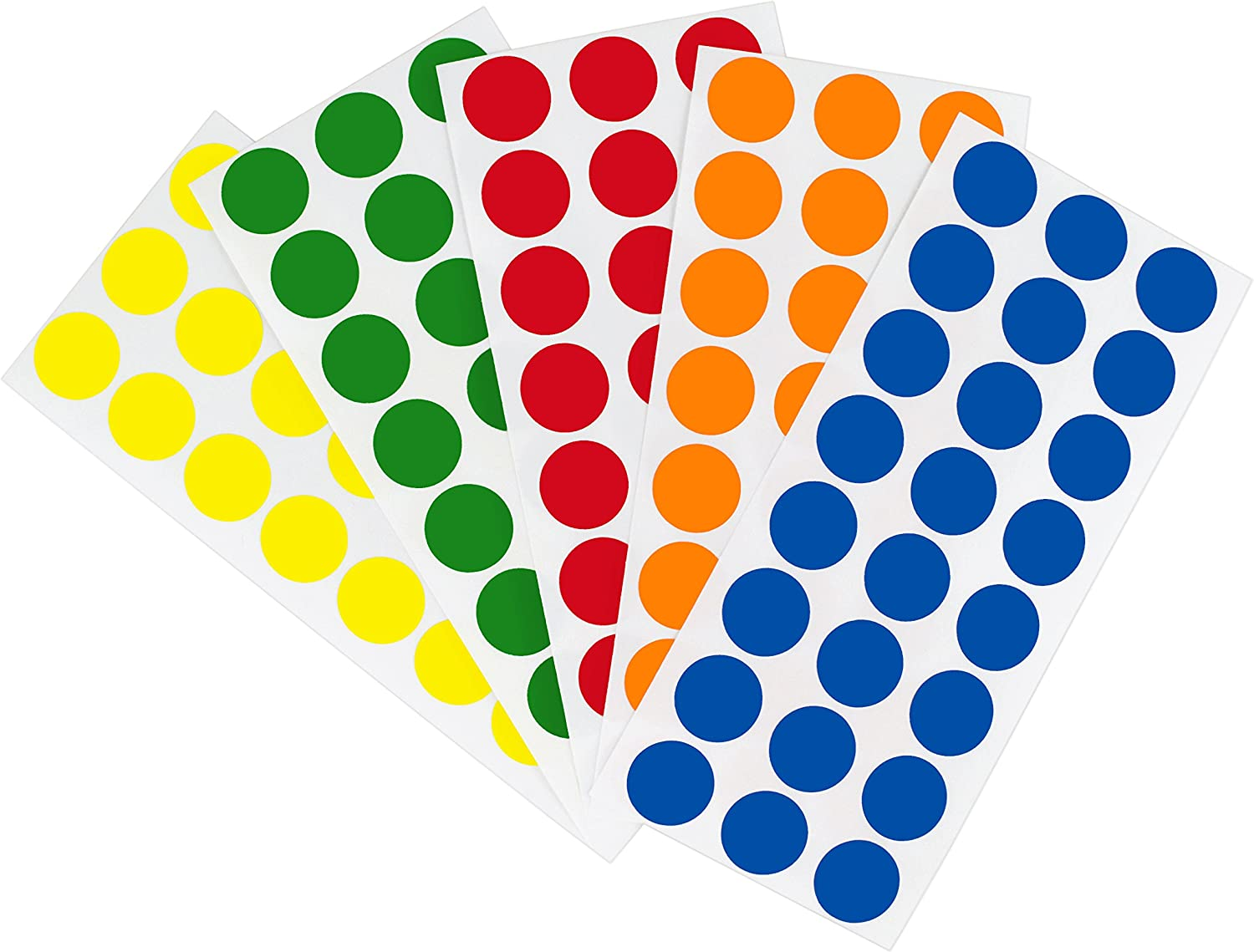 ChromaLabel 1/2 Inch Removable Color-Code Dot Label Kit, 5 Assorted Standard Colors, 1200/Pack