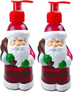 Oberstuff Santa Claus Holiday Hand Soaps, 2pk. Pack of 2 Santa-Shaped Dispensers with Sugar-Coated Apple Scent. Each Bottle Approx. 10 Fluid oz Liquid Hand Soap.