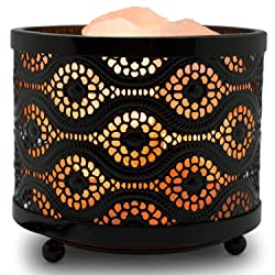Himalayan Glow 1363B Natural Himalayan Lamp with Salt Chunks in Mosaic Design Metal Basket Night Light and Dimmable Cord, 5 LBS, Mosaic Salt Lamp
