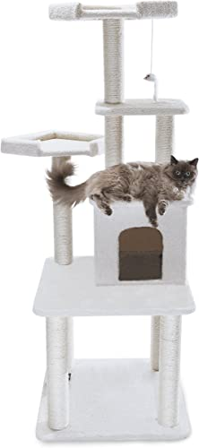 Majestic Pet Products 64 inch Cream Bungalow Cat Furniture Condo House Scratcher Multi Level Pet Activity Tree