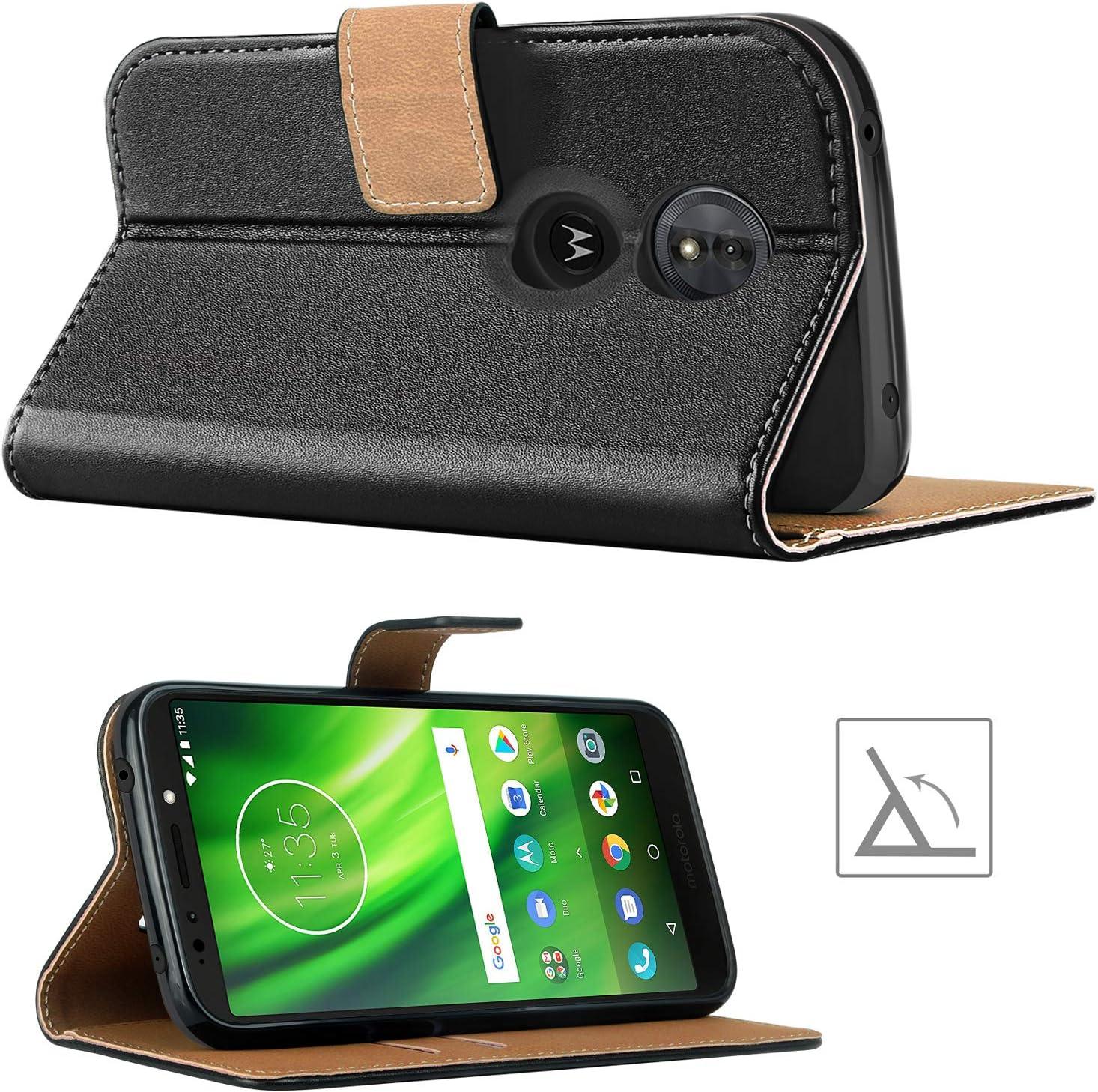 Premium Leder Flip Schutzh/ülle f/ür Motorola Moto G6 Play Tasche Schwarz HOOMIL Handyh/ülle f/ür Motorola Moto G6 Play H/ülle