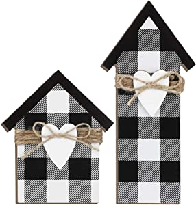 Jetec 2 Pieces Wooden House Shaped Block Sign, Farmhouse Buffalo Plaid Home Sign Tiered Tray Decor for Living Room Window Shelf Desk Office