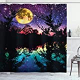 Ambesonne Purple Shower Curtain, Lake Moonlight Stars in Night Sky with Trees Contemporary Modern Design, Cloth Fabric Bathro