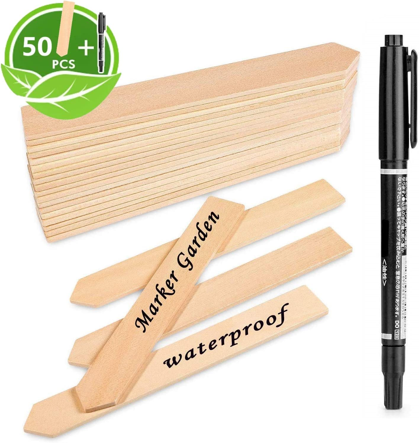with A Marker Pen 15 x 2cm Waterproof Pointed Plant Sign Tags Eco-Friendly Garden Markers for Seed Potted Herbs Flowers Vegetables LATERN 50Pcs Wooden Plant Labels